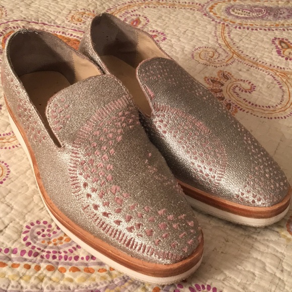 4686eadefd2 Free People Shoes - Free People Snake Eyes Silver Loafer size 37